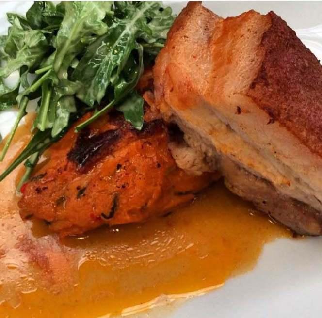 Glazed pork belly with sweet potato mash