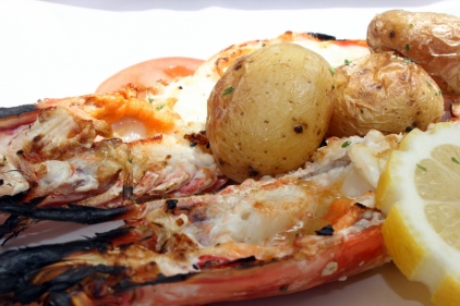 Grilled king prawns with new potatoes